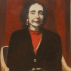 Oil painting of Joyce Carol Oates by artist Gavin Cologne-Brookes