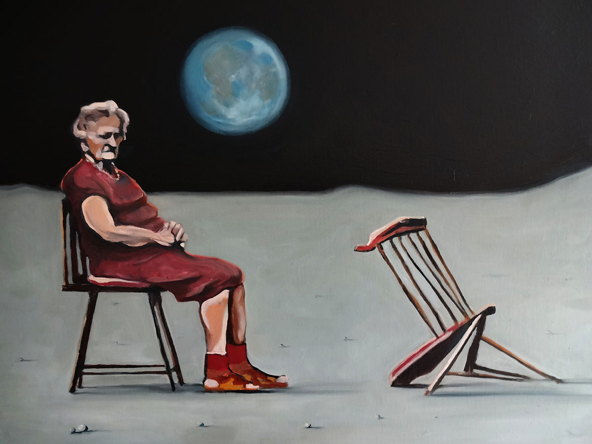 Anzio Lady on the Moon - Oil Paintings by Gavin Cologne-Brookes
