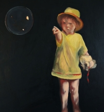 Daughter and Bubble - Portrait Paintings by Gavin Cologne-Brookes
