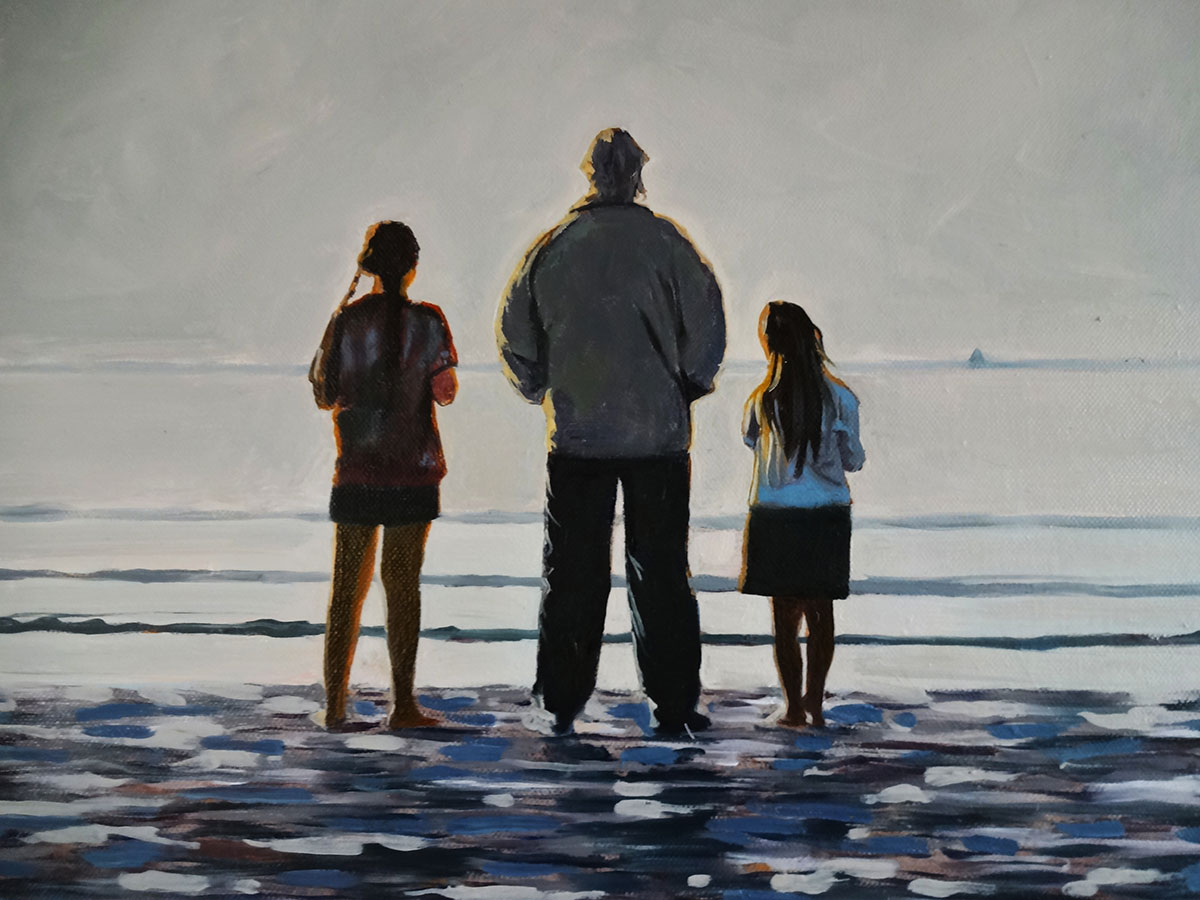 Daughters with Grandfather - Oil Paintings by Gavin Cologne-Brookes