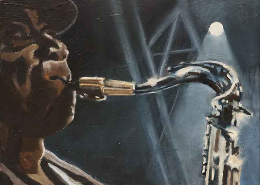 Clarence Clemons - Oil Portrait Painting by Gavin Cologne-Brookes