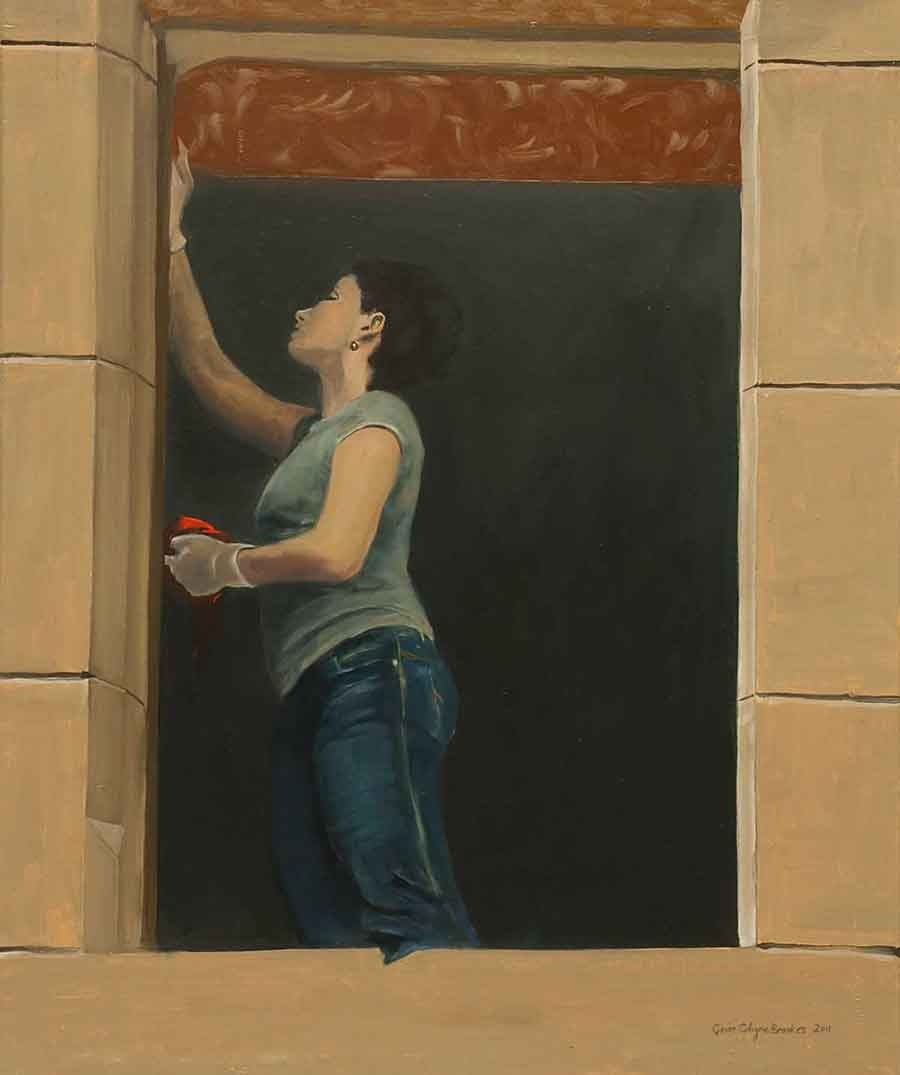 Cleaner, Krakow - Oil Painting by Gavin Cologne-Brookes