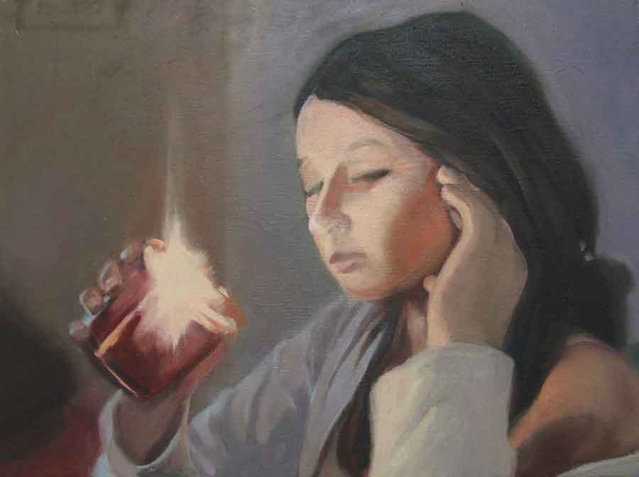Contemplation - Oil Portrait Painting by Gavin Cologne-Brookes