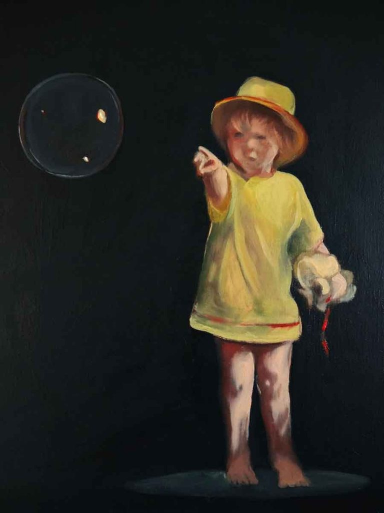 Daughter and Bubble - Oil Portrait Painting by Gavin Cologne-Brookes