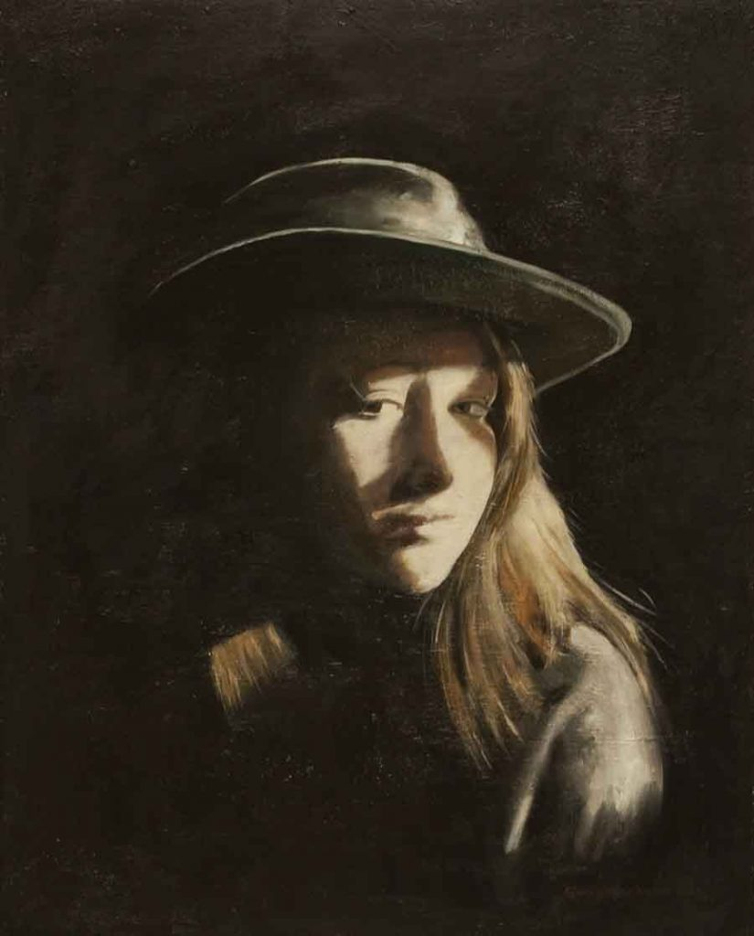 Daughter in Hat - Oil Portrait Painting by Gavin Cologne-Brookes