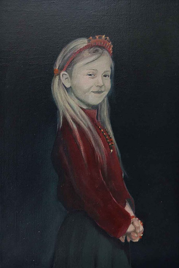 Daughter in Red - Oil Portrait Painting by Gavin Cologne-Brookes
