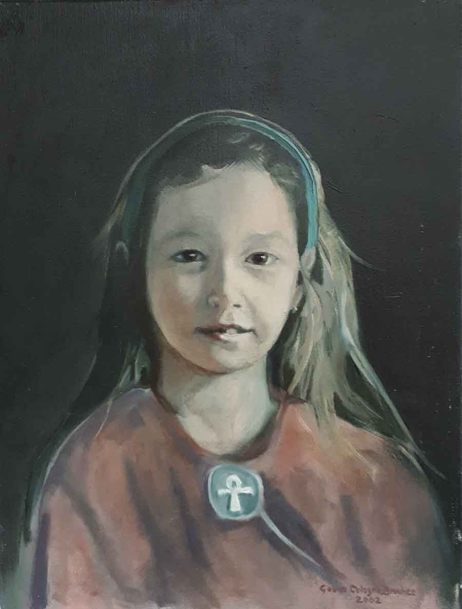 Daughter with Ankh - Oil Portrait Painting by Gavin Cologne-Brookes