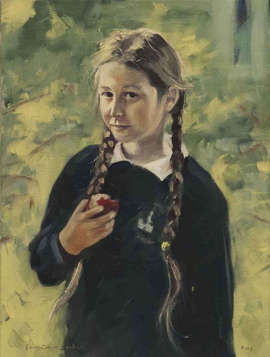 Daughter with Apple - Oil Portrait Painting by Gavin Cologne-Brookes