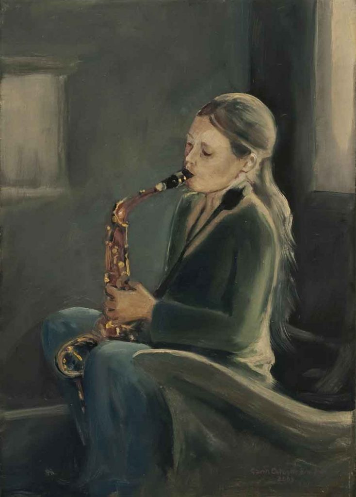 Daughter with Saxophone - Oil Portrait Painting by Gavin Cologne-Brookes