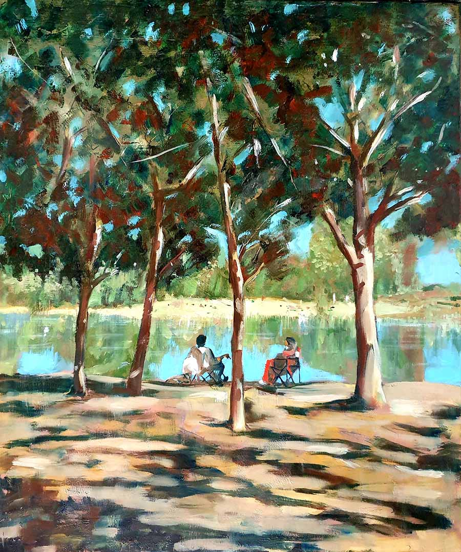 Afternoon, Bois de Boulogne - Oil Painting by Gavin Cologne-Brookes