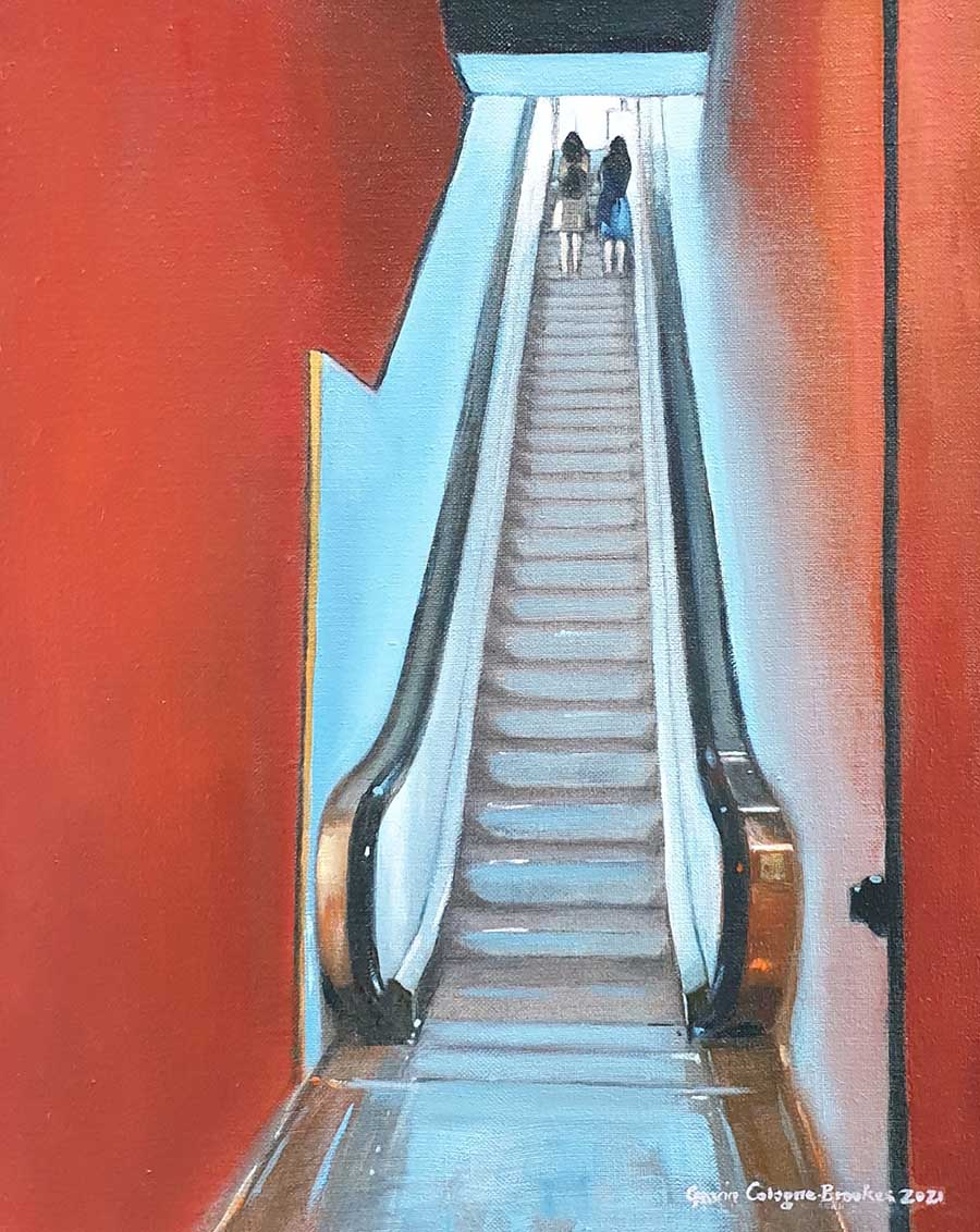 Escalator to the Impressionists, Musée d'Orsay - Oil Painting by Gavin Cologne-Brookes