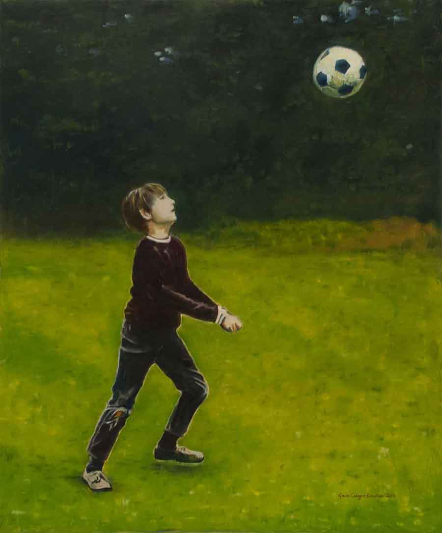 Garden Football - Oil Painting by Gavin Cologne-Brookes