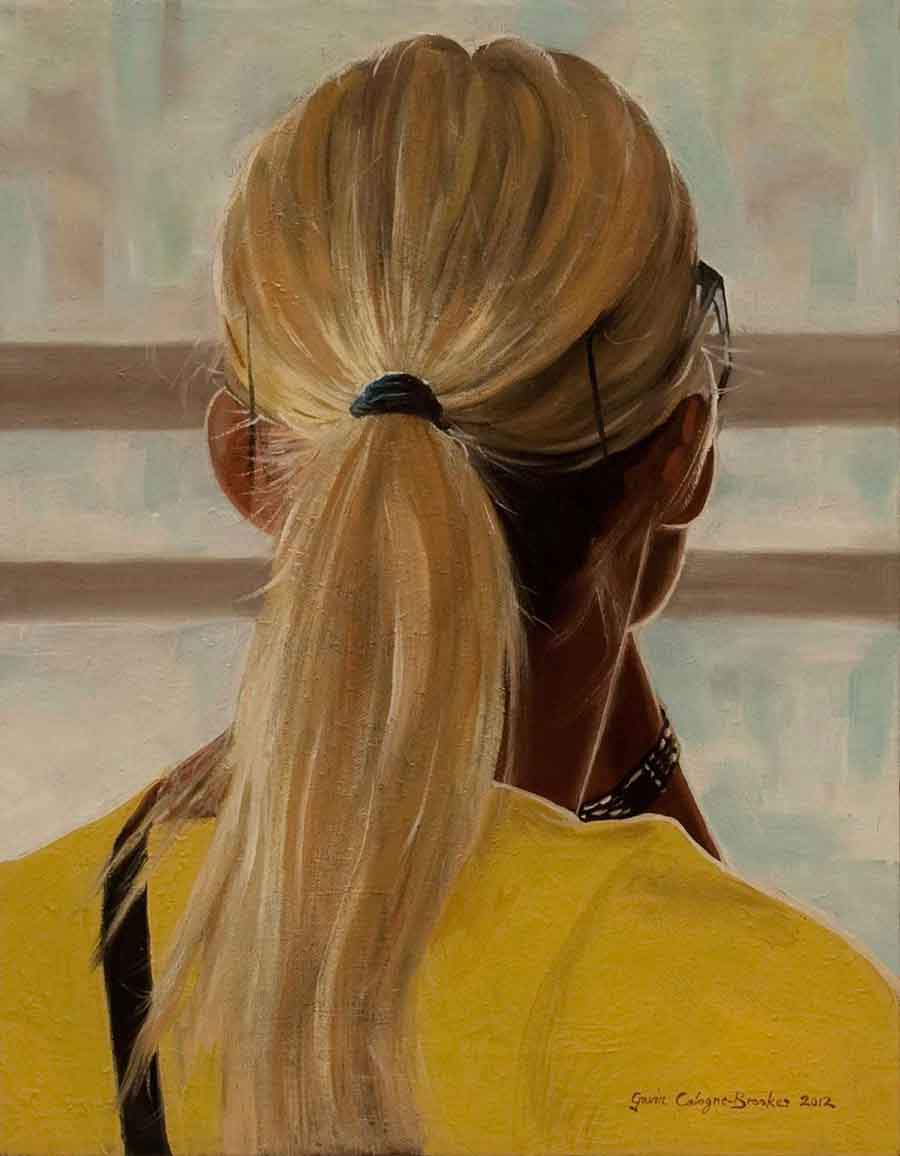 Cable Car Passenger, San Francisco - Oil Painting by Gavin Cologne-Brookes