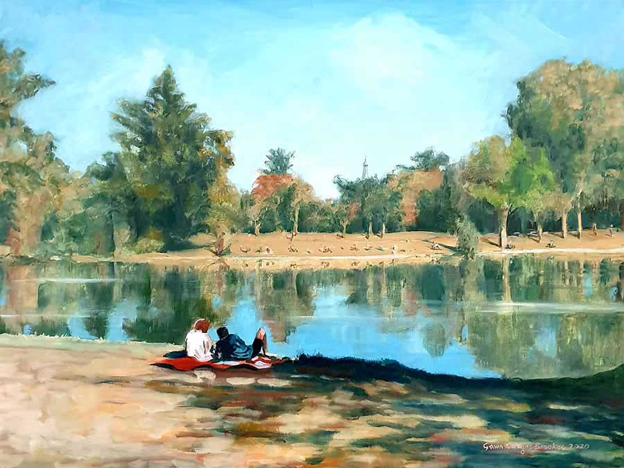Indian Summer, Bois de Boulogne - Oil Painting by Gavin Cologne-Brookes