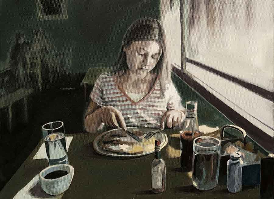 Los Gatos Breakfast - Oil Portrait Painting by Gavin Cologne-Brookes
