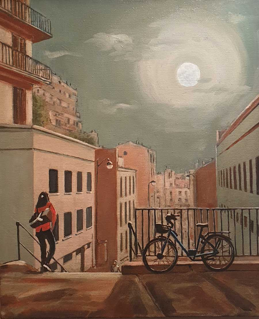 Moonlit Meeting, Passage Gauthier - Oil Painting by Gavin Cologne-Brookes