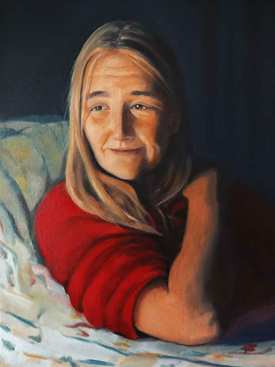 Nicki in Lamplight - Oil Portrait Painting by Gavin Cologne-Brookes