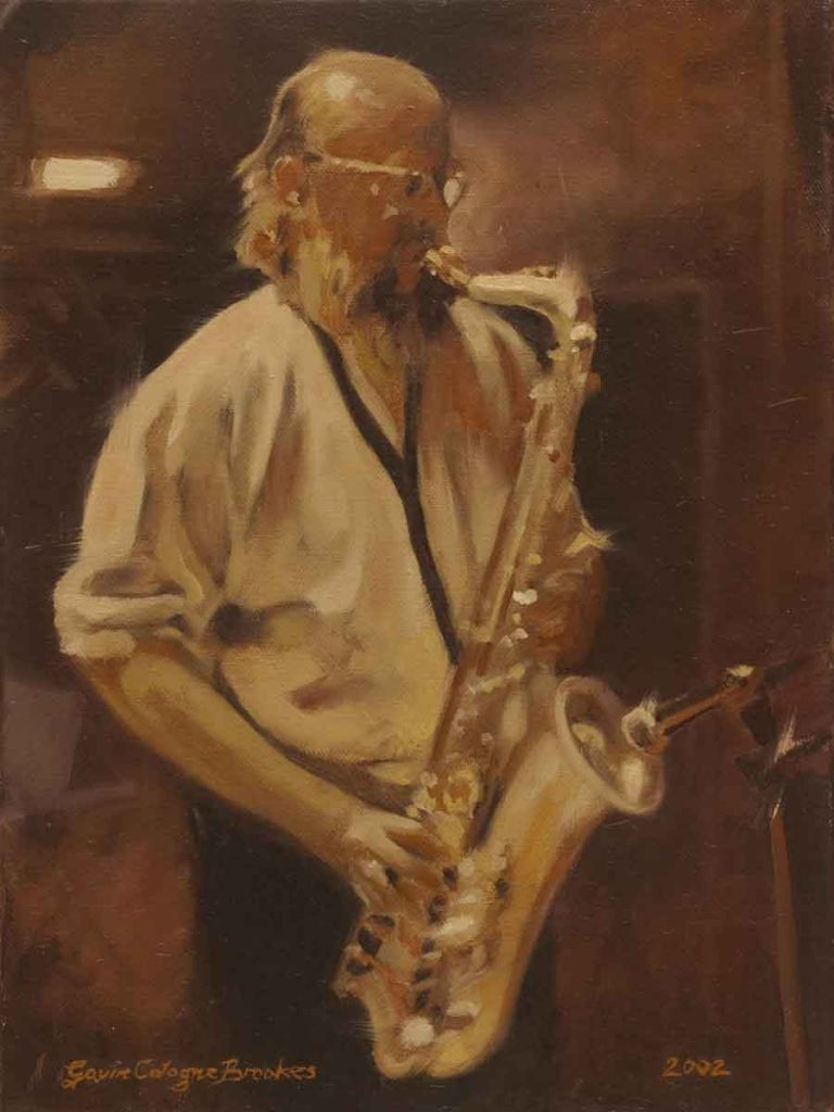 Saxophonist - Oil Portrait Painting by Gavin Cologne-Brookes