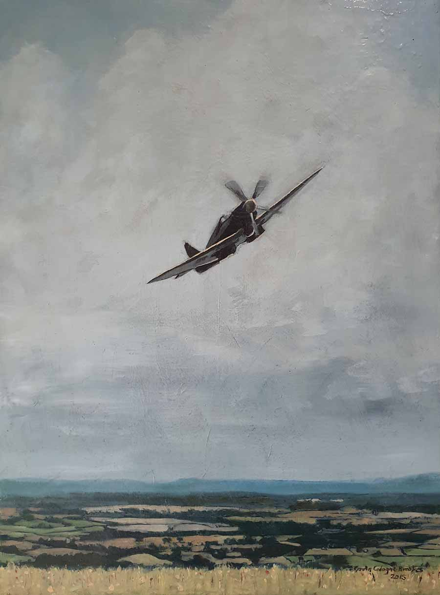 Spitfire over Wiltshire - Oil Painting by Gavin Cologne-Brookes