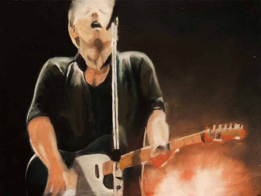 Bruce Springsteen in Performance - Oil Portrait Painting by Gavin Cologne-Brookes