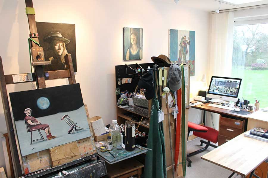 Photograph of Gavin Cologne-Brookes' studio in Wiltshire
