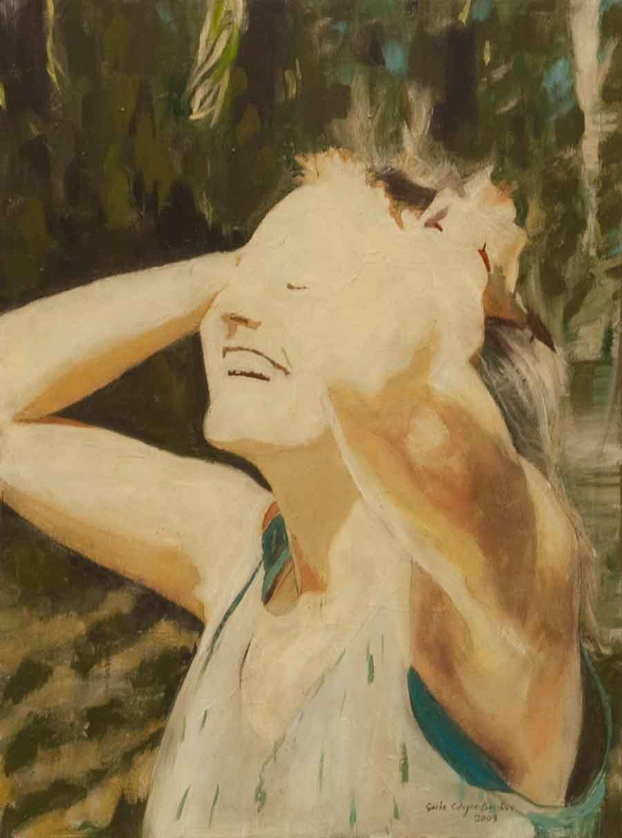Nicki in Sunshine - Oil Portrait Painting by Gavin Cologne-Brookes