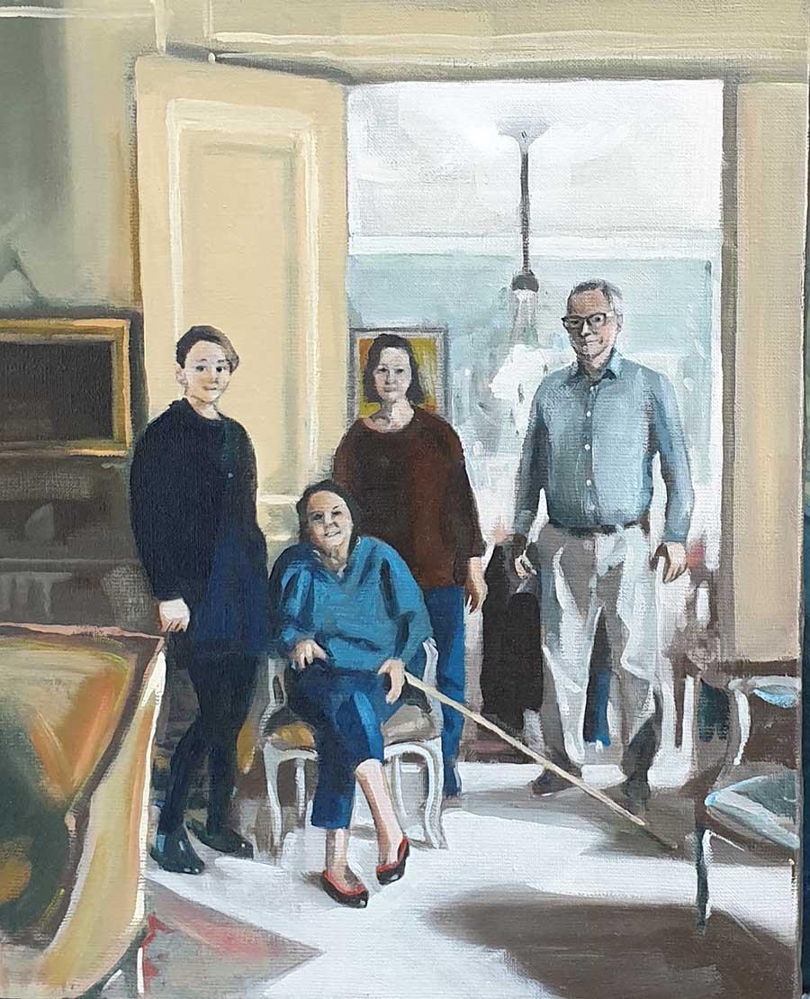 Thérèse de Saint Phalle and family, Bld Émile Augier - Oil Painting by Gavin Cologne-Brookes